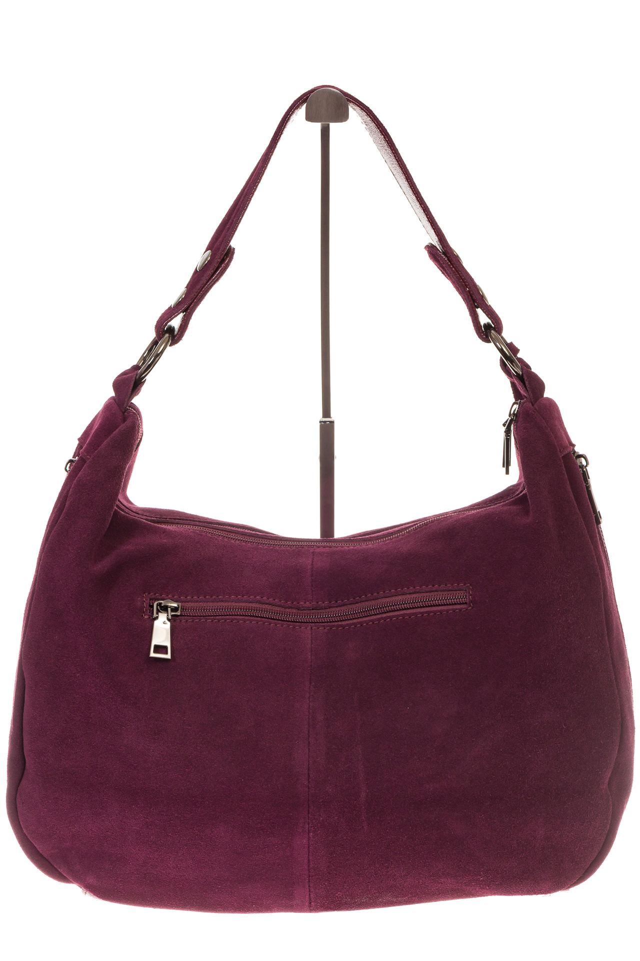 На фото 3 - Бордовая сумка хобо из натуральной замши для женщин