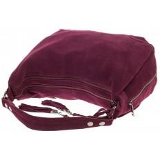 На фото 4 - Бордовая сумка хобо из натуральной замши для женщин
