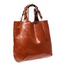 На фото 1 - Сумка-мешок из натуральной кожи, цвет рыжий
