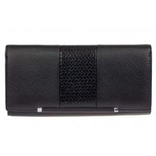 На фото 1 - Женский кошелёк из искусственной кожи с фактурной вставкой, цвет чёрный