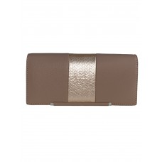 На фото 1 - Женский кошелёк из искусственной кожи с фактурной вставкой, цвет серо-пудровый