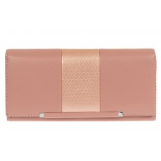 На фото 1 - Женский кошелёк из искусственной кожи с фактурной вставкой, цвет пудра