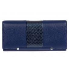 На фото 1 - Женский кошелёк из искусственной кожи с фактурной вставкой, цвет синий