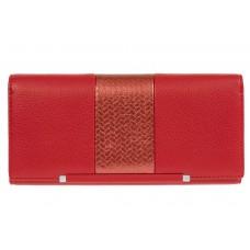 На фото 1 - Женский кошелёк из искусственной кожи с фактурной вставкой, цвет красный