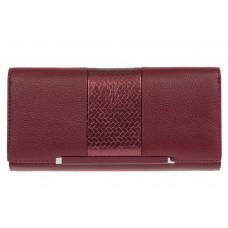 На фото 1 - Женский кошелёк из искусственной кожи с фактурной вставкой, цвет бордовый