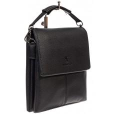 На фото 1 - Чёрная сумка-планшет из фактурной натуральной кожи
