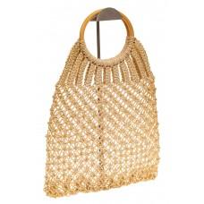 На фото 1 - Плетеная сумка-авоська с деревянными ручкам...