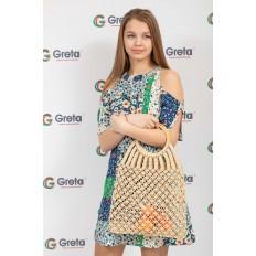 На фото 4 - Плетеная сумка-авоська с деревянными ручками, цвет молочно-белый