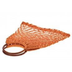 На фото 3 - Плетеная сумка-авоська с деревянными ручками, цвет рыжий