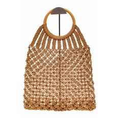На фото 2 - Плетеная сумка-авоська с деревянными ручками, цвет крафт