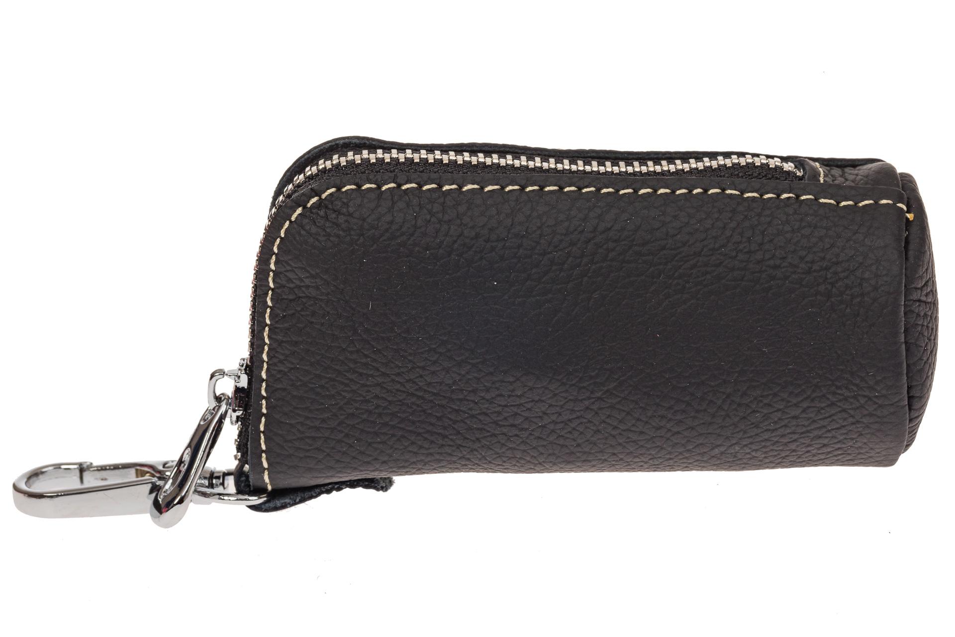 На фото 1 - Женская ключница из натуральной кожи, цвет черный