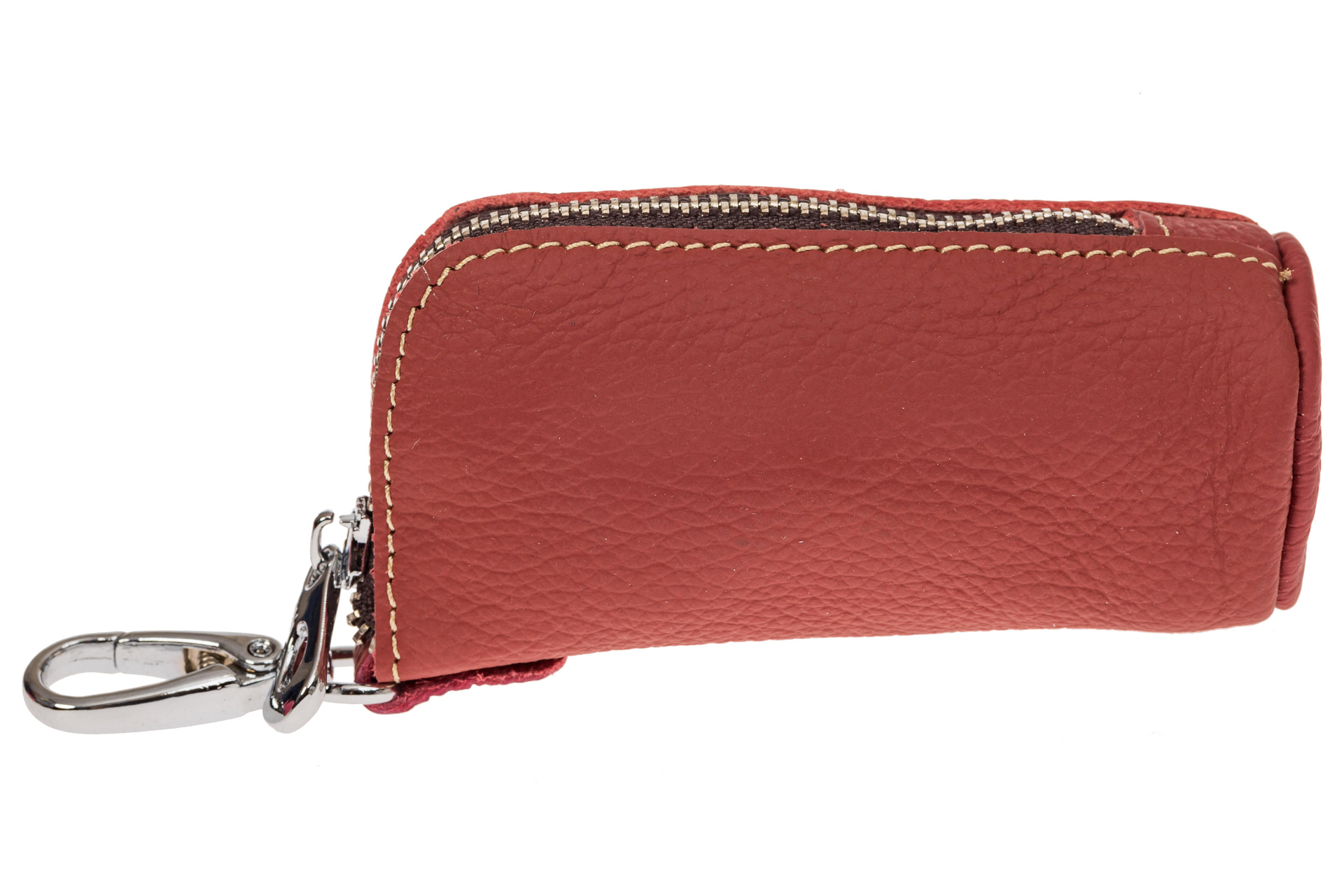 На фото 1 - Женская ключница из натуральной кожи, цвет розовый