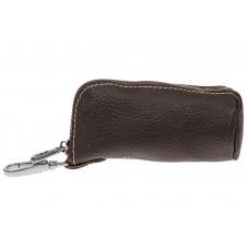 На фото 1 - Женская ключница из натуральной кожи, цвет коричневый