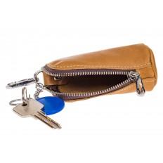 На фото 2 - Женская ключница из натуральной кожи, цвет рыжий