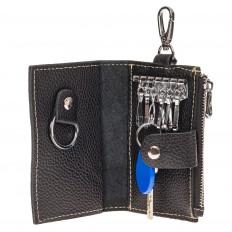 На фото 2 - Женская ключница из черной натуральной кожи