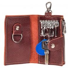 На фото 2 - Женская ключница из коричневой натуральной кожи