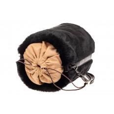 На фото 4 - Меховая сумка-ведро, цвет черный