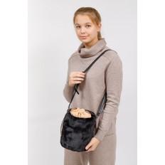 На фото 5 - Меховая сумка-ведро, цвет черный
