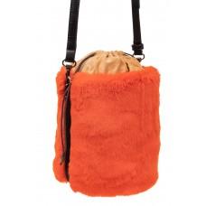 На фото 1 - Меховая сумка-ведро, цвет оранжевый