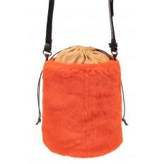На фото 2 - Меховая сумка-ведро, цвет оранжевый