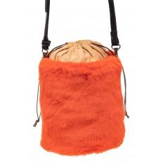На фото 3 - Меховая сумка-ведро, цвет оранжевый
