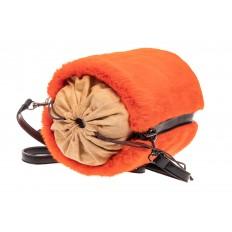 На фото 4 - Меховая сумка-ведро, цвет оранжевый