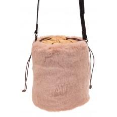 На фото 2 - Меховая сумка-ведро, цвет пудра