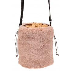 На фото 3 - Меховая сумка-ведро, цвет пудра
