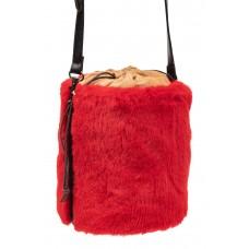 На фото 1 - Меховая сумка-ведро, цвет красный