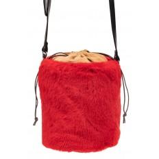 На фото 2 - Меховая сумка-ведро, цвет красный