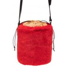 На фото 3 - Меховая сумка-ведро, цвет красный
