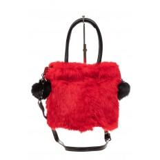 На фото 2 - Сумка кросс-боди женская из натурального меха, цвет красный