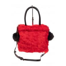На фото 3 - Сумка кросс-боди женская из натурального меха, цвет красный
