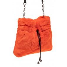 На фото 1 - Сумка женская из натурального меха, цвет оранжевый