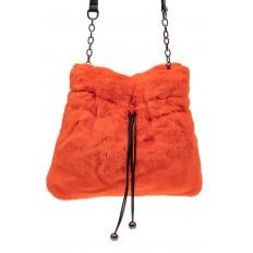 На фото 2 - Сумка женская из натурального меха, цвет оранжевый