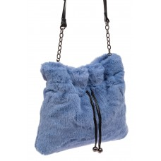 На фото 1 - Сумка женская из натурального меха, цвет синий