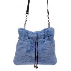 На фото 2 - Сумка женская из натурального меха, цвет синий