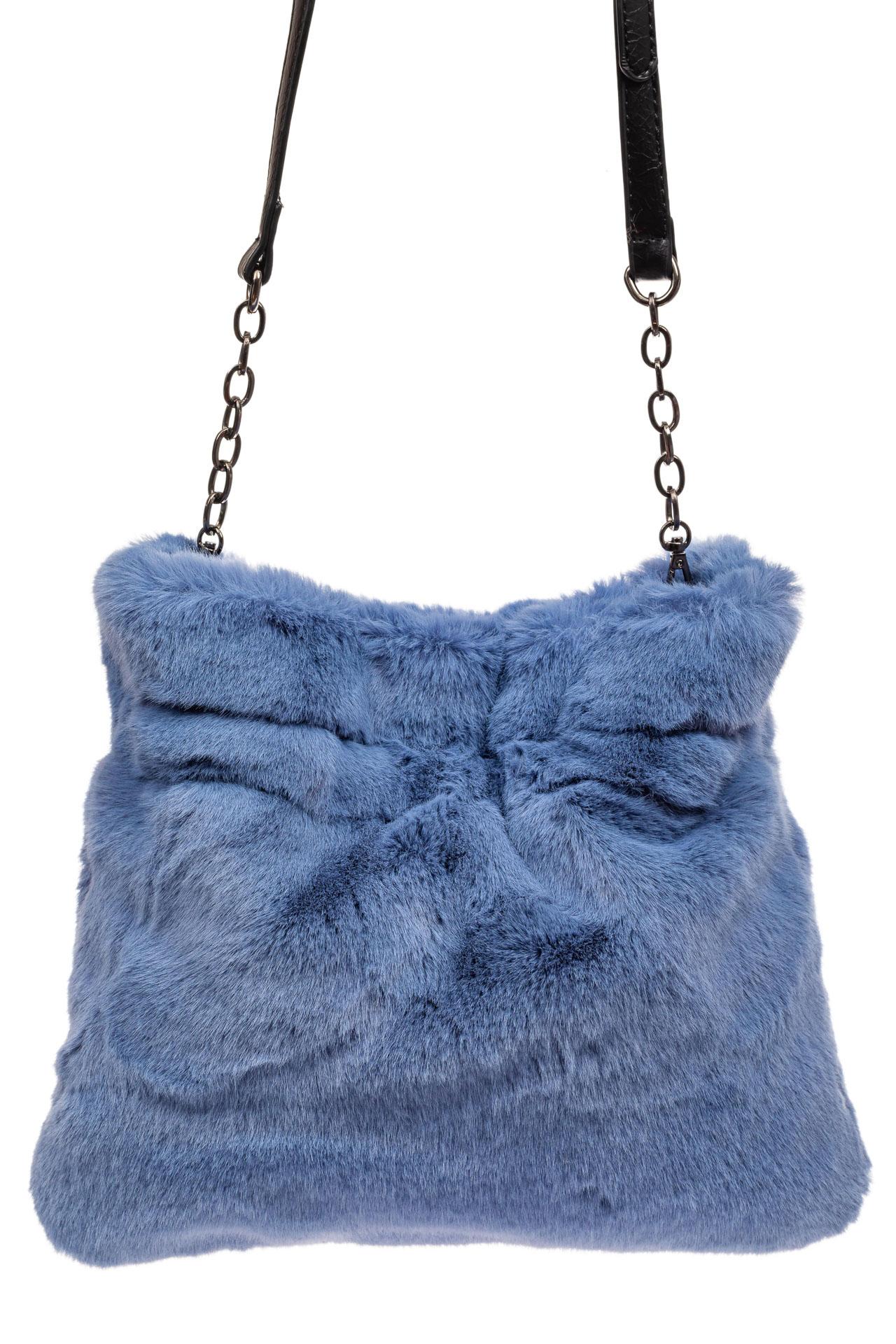 На фото 3 - Сумка женская из натурального меха, цвет синий