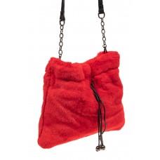 На фото 1 - Сумка женская из натурального меха, цвет красный