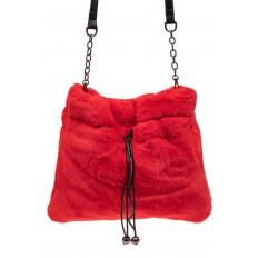 На фото 2 - Сумка женская из натурального меха, цвет красный