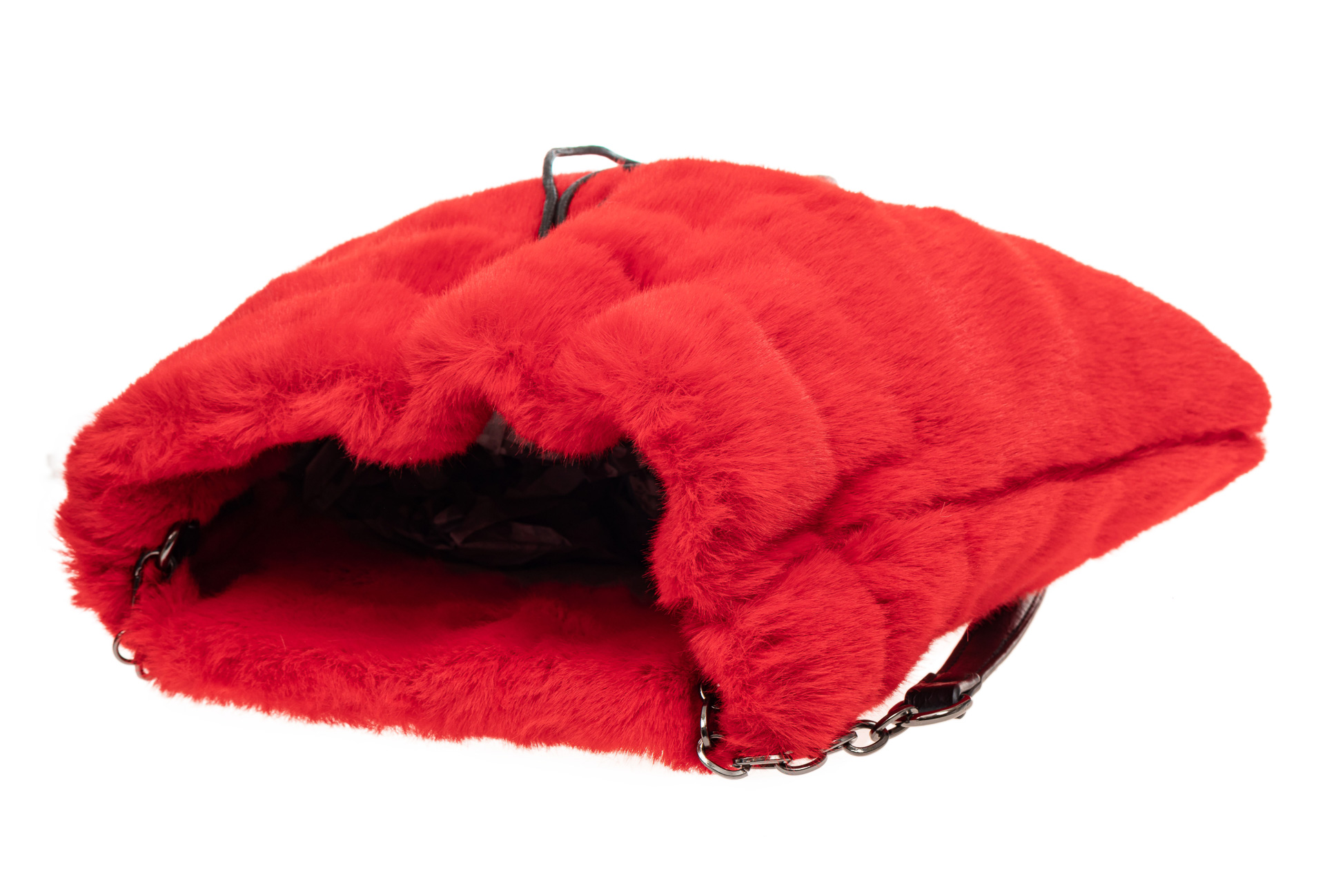 На фото 4 - Сумка женская из натурального меха, цвет красный