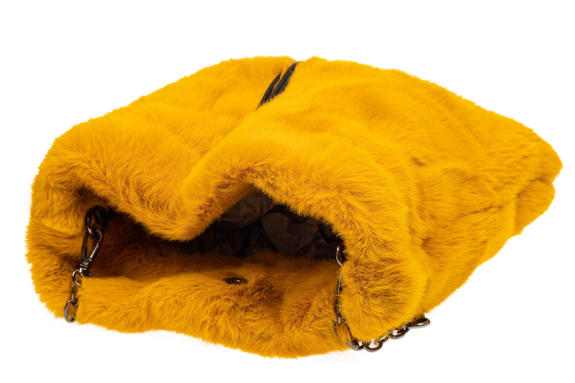 На фото 4 - Сумка женская из натурального меха, цвет желтый