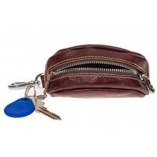 На фото 1 - Женская ключница из натуральной глянцевой кожи, цвет бордовый