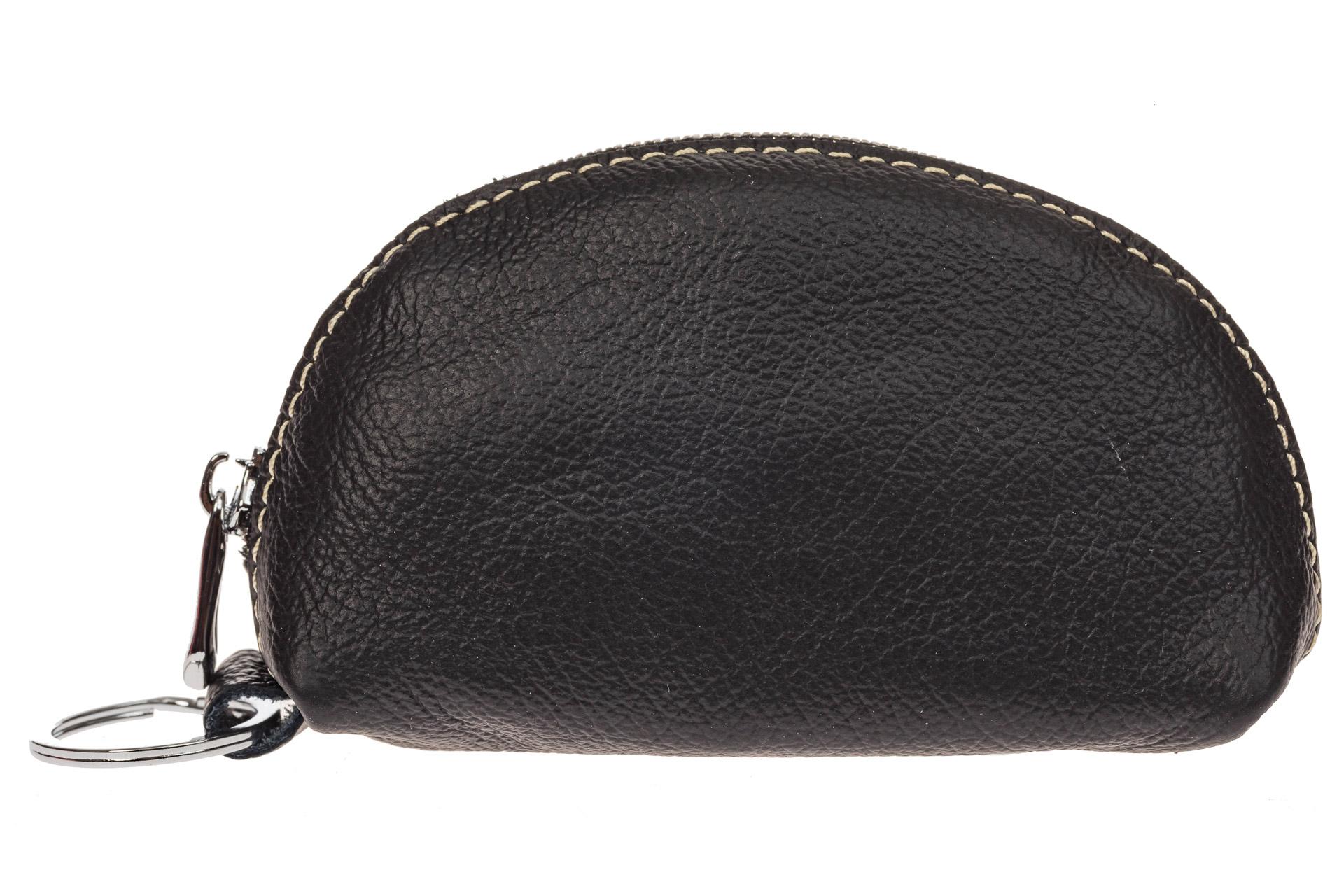 На фото 2 - Черная ключница из натуральной кожи с внешним кольцом