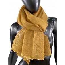 На фото 1 - Лёгкий однотонный платок, цвет карри