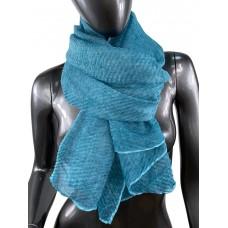 На фото 1 - Лёгкий однотонный платок, цвет бирюза