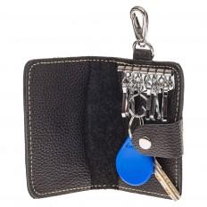 На фото 2 - Маленькая женская ключница из черной натуральной кожи