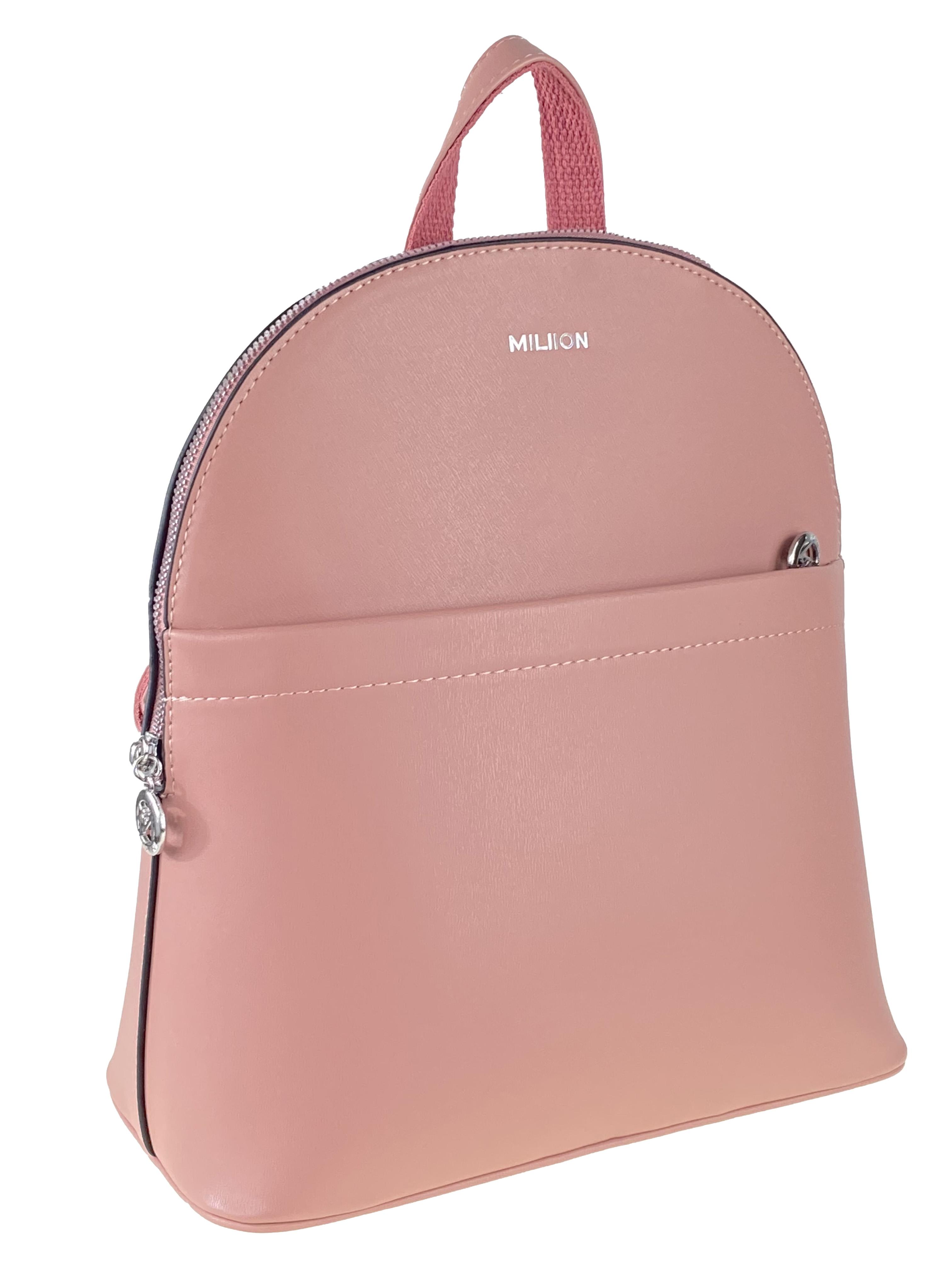 Рюкзак-трансформер женский из экокожи с жёстким каркасом, цвет розовый
