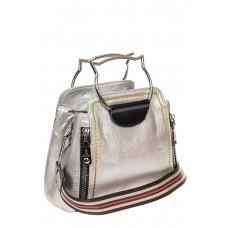 На фото 1 - Маленькая женская сумка из искусственной кожи, цвет серебро