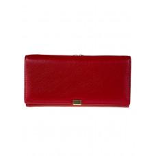 На фото 1 - Женское полноразмерное портмоне из фактурной натуральной кожи, цвет рубиновый